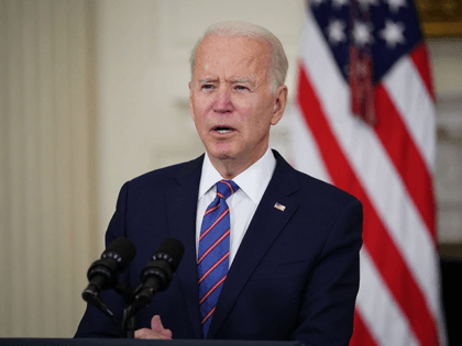 US President Joe Biden speaks about the March jobs report in the State Dining Room of the White House in Washington, DC, on April 2, 2021. - The US economy regained a massive 916,000 jobs in March, the biggest increase since August, with nearly a third of the increase in …