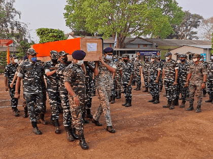 Members of Indian security forces carry the coffin of one of their colleague, who died following a gun battle with Maoist rebels, which left twenty-two members of Indian security forces killed and 30 others wounded, at the Central Reserve Police Force's Jagdalpur camp in Bijapur district of Indias Chhattisgarh state …