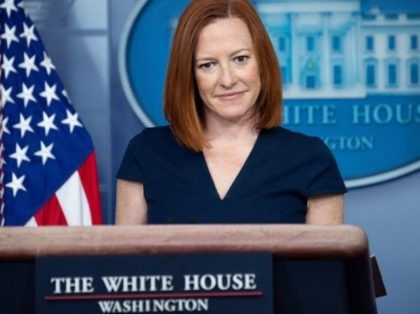 White House Press Secretary Jen Psaki listens during a press briefing in the Brady Press Briefing Room of the White House in Washington, DC, April 5, 2021. (Photo by SAUL LOEB / AFP) (Photo by SAUL LOEB/AFP via Getty Images)