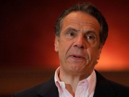 New York Governor Andrew Cuomo speaks at Rochdale Village Community Center in Queens, New York, on April 5, 2021. - Cuomo faces an investigation over an alleged pattern of sexually harassing and intimidating women employees, as well as accusations his administration orchestrated a cover-up of nursing home deaths related to …