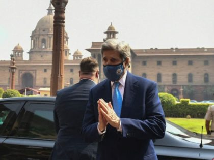 US climate envoy John Kerry gesture as he arrives at the Ministry of Finance for a meeting with Indian Finance Minister Nirmala Sitharaman, in New Delhi on April 6, 2021. (Photo by - / AFP) (Photo by -/AFP via Getty Images)