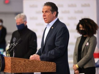 Governor Andrew Cuomo speaks during a press conference on coronavirus (Covid-19) vaccination at Suffolk County Community College on April 12, 2021 in Brentwood, New York. - Governor Andrew Cuomo held a press conference at Suffolk County Community College, a mass vaccination site, announcing that the state will be sending the …