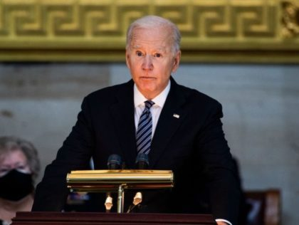 President Joe Biden speaks during a ceremony to honor slain US Capitol Police officer William Billy Evans as he lies in honor at the Capitol in Washington, DC on April 13, 2021. - Evans was killed and another wounded after a man rammed through security and crashed into a barrier …