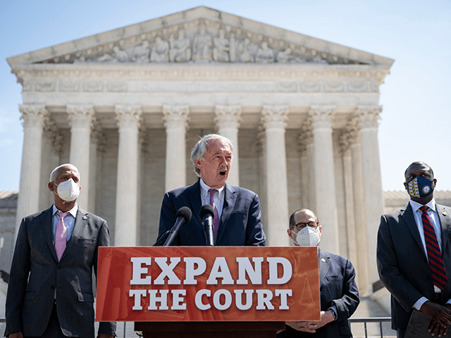 (L-R) Rep. Hank Johnson (D-GA), Sen. Ed Markey (D-MA), House Judiciary Committee Chairman Rep. Jerrold Nadler (D-NY) and Rep. Mondaire Jones (D-NY) hold a press conference in front of the U.S. Supreme Court to announce legislation to expand the number of seats on the Supreme Court on April 15, 2021 …