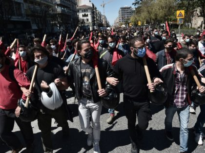 Students demonstrate for the opening of universities, closed since one year due to the Covid-19 pandemic, and protest against the creation of a special police force aiming at fighting violence in the Greek universities, in Thessaloniki on April 15, 2021. - Shuttered for over a year due to the Covid-19 …