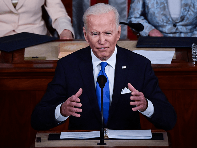 US President Joe Biden addresses a joint session of Congress at the US Capitol in Washington, DC, on April 28, 2021. (Photo by JIM WATSON / POOL / AFP) (Photo by JIM WATSON/POOL/AFP via Getty Images)