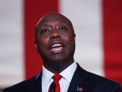 WASHINGTON, DC - AUGUST 24: U.S. Sen. Tim Scott (R-SC) stands on stage in an empty Mellon Auditorium while addressing the Republican National Convention at the Mellon Auditorium on August 24, 2020 in Washington, DC. The novel coronavirus pandemic has forced the Republican Party to move away from an in-person …