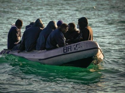 DOVER, ENGLAND - SEPTEMBER 06: Nine migrants drift in the English Channel after their engine failed on September 06, 2020 in Dover, England. The nine male migrants were making their way to the South Coast of England when their outboard motor failed and only had one life jacket amongst them. …