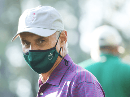 MLB Commissioner Rob Manfred looks on during the second round of the Masters at Augusta National Golf Club on November 13, 2020 in Augusta, Georgia. (Photo by Jamie Squire/Getty Images)