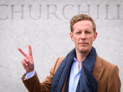 LONDON, ENGLAND - APRIL 07: Laurence Fox launches his manifesto for his bid to become the Mayor of London while standing in front of a statue of former British Prime Minister Winston Churchill in Parliament Square on April 07, 2021 in London, England. Fox is standing on policies critical of …