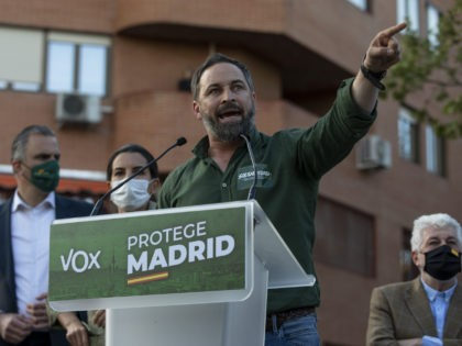 MADRID, SPAIN - APRIL 07: Far right wing VOX party leader Santiago Abascal speaks during a rally at Plaza de la Constitución in Vallecas neighborhood on April 07, 2021 in Madrid, Spain. Far right wing VOX party is presenting their candidature today in Vallecas neighborhood, where they usually receive little …