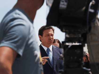 Florida Gov. Ron DeSantis speaks to the media about the cruise industry during a press conference at PortMiami on April 08, 2021 in Miami, Florida. The Governor announced that the state is suing the federal government to allow cruises to resume in Florida. (Photo by Joe Raedle/Getty Images)