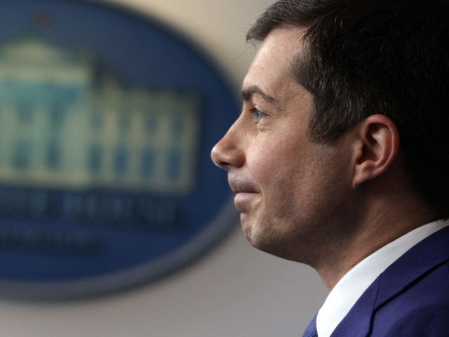 WASHINGTON, DC - APRIL 09: U.S. Secretary of Transportation Pete Buttigieg speaks during a daily press briefing at the James Brady Press Briefing Room of the White House April 9, 2021 in Washington, DC. White House Press Secretary Jen Psaki held the briefing to answer questions from members of the …