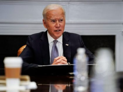 WASHINGTON, DC - APRIL 12: U.S. President Joe Biden joins a CEO Summit on Semiconductor and Supply Chain Resilience via video conference from the Roosevelt Room at the White House on April 12, 2021 in Washington, DC. President Biden joined the summit which focused on the global shortage of semiconductors …