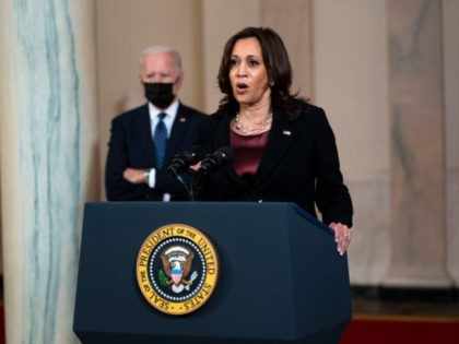WASHINGTON, DC - APRIL 20: Vice President Kamala Harris delivers remarks as President Joe Biden looks on in response to the verdict in the murder trial of former Minneapolis police officer Derek Chauvin at the Cross Hall of the White House April 20, 2021 in Washington, DC. Chauvin was found …