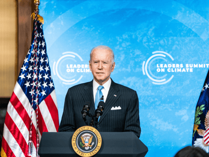 U.S. President Joe Biden delivers remarks during day 2 of the virtual Leaders Summit on Climate at the East Room of the White House April 23, 2021 in Washington, DC. Biden pledged to cut greenhouse gas emissions by half by 2030. (Photo by Anna Moneymaker-Pool/Getty Images)