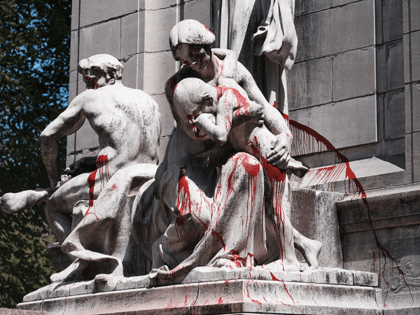 Anti police graffiti is scrawled across the USS Maine National Monument following a night of protests on April 23, 2021 in New York City. Six protesters were arrested Thursday night as they scuffled with police near the USS Maine National Monument in New York City's Columbus Circle. A group of …