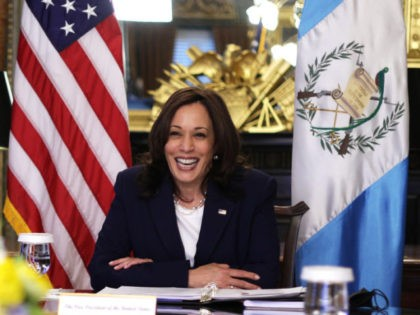 WASHINGTON, DC - APRIL 26: U.S. Vice President Kamala Harris participates in a virtual bilateral meeting with Guatemalan President Alejandro Giammattei at the Vice President's Ceremonial Office at Eisenhower Executive Office Building April 26, 2021 in Washington, DC. According to a White House news release, the two counterparts were expected …
