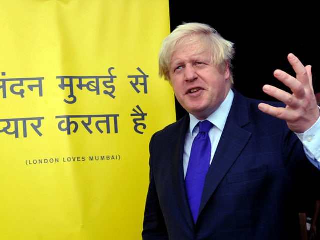 The Mayor of London Boris Johnson gestures dueing an interaction with Indian media representatives in Mumbai on November 29, 2012. Johnson called for more big-budget Bollywood films to be shot in the city as he met Indian film executives during a tour of Mumbai to drum up investment. part of …