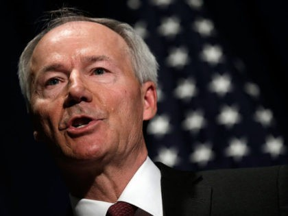WASHINGTON, DC - APRIL 02: Former U.S. Rep. Asa Hutchinson announces the recommendations of the NRA backed National School Shield Program regarding school security during a press conference April 2, 2013 at the National Press Club in Washington, DC. Among other findings, the report recommended training and placing armed personnel …