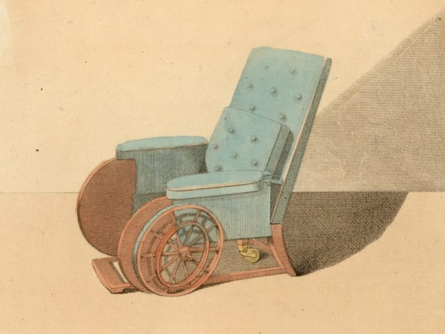 1810: Early nineteenth century wheelchairs. (Photo by Hulton Archive/Getty Images)