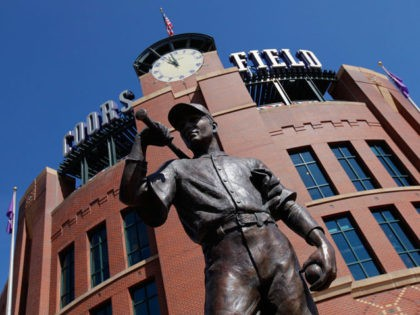 DENVER, CO - APRIL 10: The statue of 'The Player' stands sentry outside the stadium as the Colorado Rockies host the Chicago Cubs during the Rockies home opener at Coors Field on April 10, 2015 in Denver, Colorado. (Photo by Doug Pensinger/Getty Images)