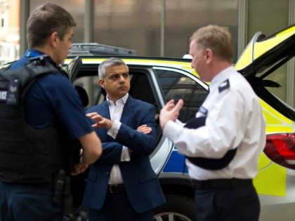 LONDON, ENGLAND - APRIL 21: Labour Mayoral Candidate Sadiq Khan speaks with members of the Metropolitan Police Armed Response Unit during a visit to Scotland Yard on April 21, 2016 in London, England. Sadiq Khan is currently one of the main contenders running against Conservative candidate Zac Goldsmith as both …