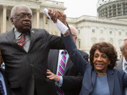WASHINGTON, DC - JUNE 23: (L-R) Reps. John Lewis (D-GA), James Clyburn (D-SC), Maxine Waters (D-CA) and Charles Rangel, (D-NY) speak with supporters outside the U.S. Capitol building June 23, 2016 in Washington, DC. Democratic House members ended their overnight House floor sit-in trying to force a vote on gun …