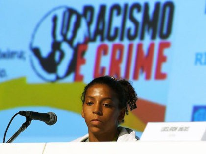 Rio 2016 Olympic Games women's -57kg judo gold medal winner Rafaela Silva is seen during a press conference about racism in Rio de Janeiro on August 10, 2016 / AFP / VANDERLEI ALMEIDA (Photo credit should read VANDERLEI ALMEIDA/AFP via Getty Images)