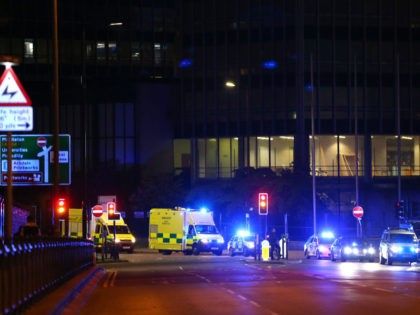 MANCHESTER, ENGLAND - MAY 23: Emergency services arrive close to the Manchester Arena on May 23, 2017 in Manchester, England. An explosion occurred at Manchester Arena as concert goers were leaving the venue after Ariana Grande had performed. Greater Manchester Police have confirmed 19 fatalities and at least 50 injured. …