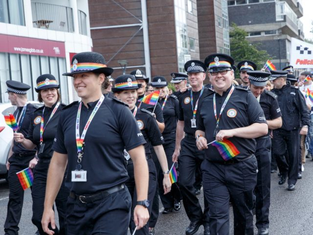 GLASGOW, SCOTLAND - AUGUST 19: Police in Pride colours lead the march at the Glasgow Pride march on August 19, 2017 in Glasgow, Scotland. The largest festival of LGBTI celebration in Scotland has been held every year in Glasgow since 1996. (Photo by Robert Perry/Getty Images)