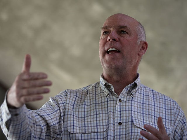 GREAT FALLS, MT - MAY 23: Republican congressional candidate Greg Gianforte speaks to supporters during a campaign meet and greet at Lions Park on May 23, 2017 in Great Falls, Montana. Greg Gianforte is campaigning throughout Montana ahead of a May 25 special election to fill Montana's single congressional seat. …