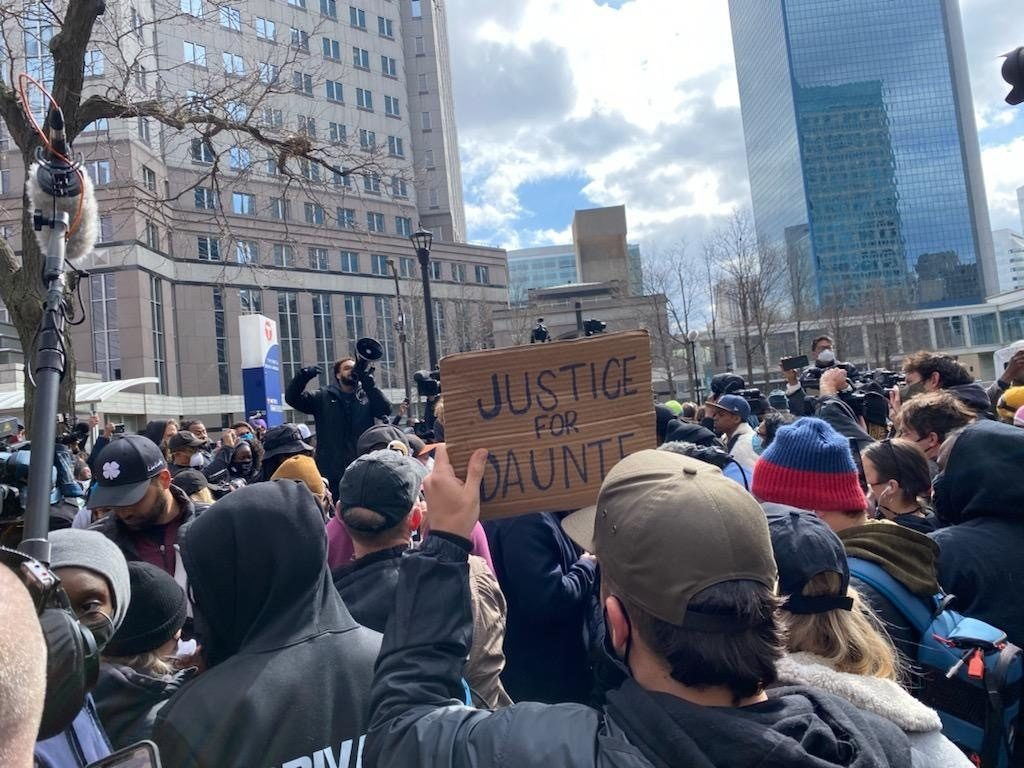 BLM marchers called for justice in the case of the killing of 20-year-old Daunte Wright in Brooklyn Center, Minnesota. (Photo: Matt Perdie/Breitbart News)