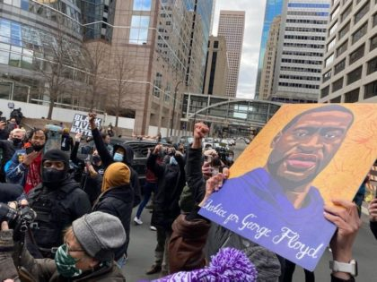 BLM protesters took to the streets of Minneapolis to celebrate the conviction of Derek Chauvin for the murder of George Floyd. (Photo: Matt Perdie/Breitbart News)
