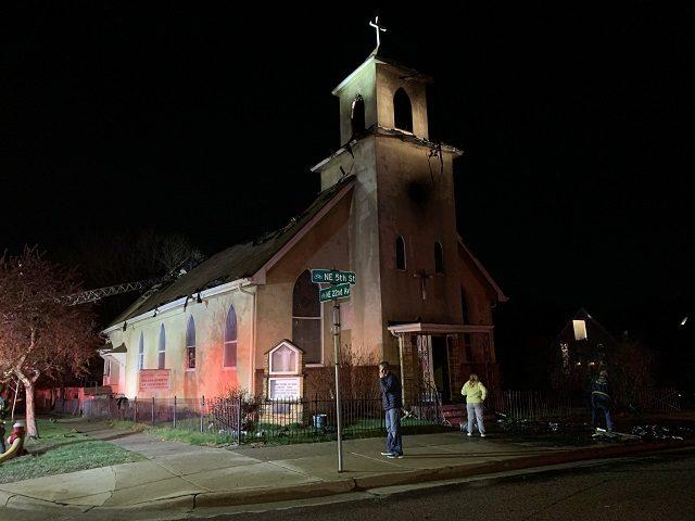 Fire damaged a Minneapolis Catholic Church during a April 19 fire. (Photo: Matt Perdie/Breitbart News)