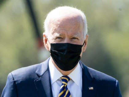 US President Joe Biden disembarks from Marine One upon arrival at the Ellipse near the White House in Washington, DC, April 5, 2021, following a weekend trip to Camp David, the presidential retreat in Maryland. (SAUL LOEB/AFP via Getty Images)