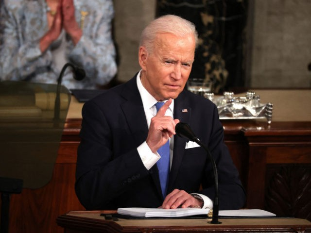 US President Joe Biden addresses a joint session of Congress at the US Capitol in Washington, DC, on April 28, 2021. (Photo by Chip Somodevilla / POOL / AFP) (Photo by CHIP SOMODEVILLA/POOL/AFP via Getty Images)