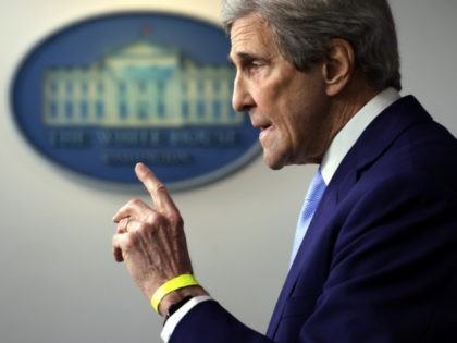WASHINGTON, DC - APRIL 22: Special Presidential Envoy for Climate and former Secretary of State John Kerry speaks during a daily press briefing at the James Brady Press Briefing Room of the White House on April 22, 2021 in Washington, DC. White House Press Secretary Jen Psaki held the daily …