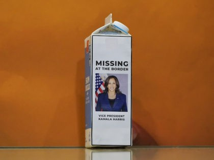 A milk carton with a picture of Vice President Kamala Harris sits on the floor during a press conference following a House Republican caucus meeting on Capitol Hill on April 14, 2021 in Washington, DC. The House Republican members spoke about their recent trip to the southern border and the …