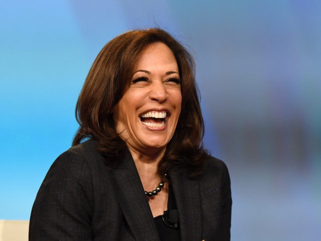 """U.S. Sen. Kamala Harris (D-CA) laughs while speaking at the """"Conversations that Count"""" event during the Black Enterprise Women of Power Summit at The Mirage Hotel & Casino on March 1, 2019 in Las Vegas, Nevada. Harris is campaigning for the 2020 Democratic nomination for president. (Photo by Ethan Miller/Getty …"""