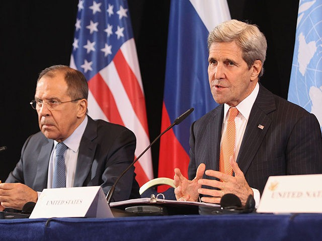 MUNICH, GERMANY - FEBRUARY 11: Russian Foreign Minister Sergey Lavrov and US Secretary of State John Kerry (L-R) give a press conference following a meeting of the International Syrian Support Group (ISSG) on February 11, 2016 in Munich, Germany. ISSG met in Munich ahead of the International Munich Security Conference …