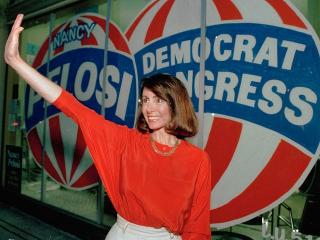 Congressional candidate Nancy Pelosi, D-Calif., waves at the Headquarters in San Francisco Tuesday night April 7, 1987. Pelosi held a slight edge over San Francisco city Supervisor Harry Britt, for the seat of the late Rep.Sala Burton, according to early election results.(AP Photo/Paul Sakuma)