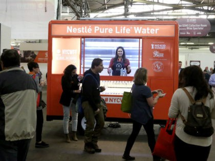 NEW YORK, NY - OCTOBER 12: The Nestle Pure Life Water booth at the Food Network & Cooking Channel New York City Wine & Food Festival presented by Capital One - Beverage Media presents Southern Glazer's Wine & Spirits Trade Tasting hosted by Wine Spectator PLUS Trade Panels at Pier …