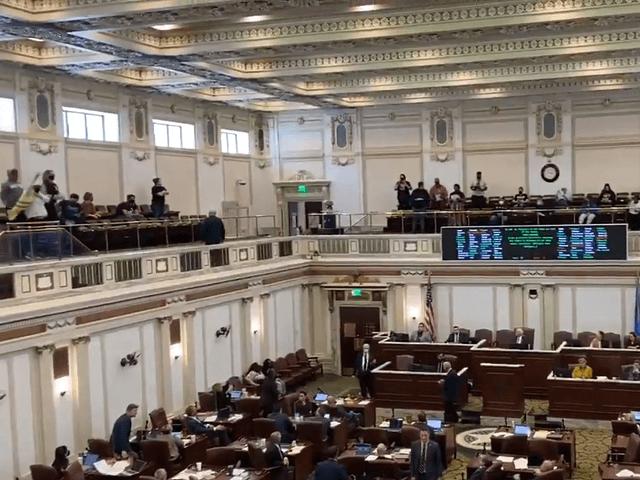 Black Lives Matter protesters disrupt the Oklahoma House of Representatives session on April 21. (Twitter Video Screenshot/Dillon Richards, KOCO)