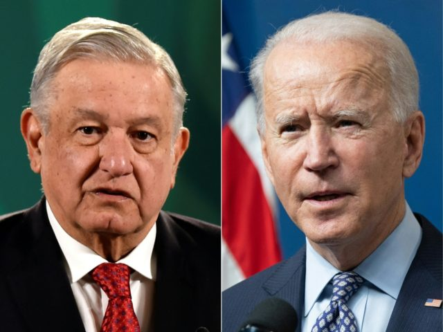 COMBO) This combination of pictures created on February 26, 2021 shows (From L) Mexican President Andres Manuel Lopez Obrador delivers a press conference with the presence of Argentinian counterpart Alberto Fernandez (out of frame) in Mexico City on February 23, 2021, and US President Joe Biden speaks about the 50 …