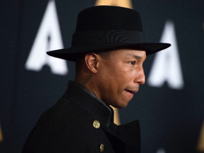 Recording artist Pharrell Williams attends the 8th Annual Governors Awards hosted by the Academy of Motion Picture Arts and Sciences on November 12, 2016, at the Hollywood & Highland Center in Hollywood, California. The Academy's Board of Governors is presenting Honorary Oscar Awards to actor Jackie Chan, film editor Anne …