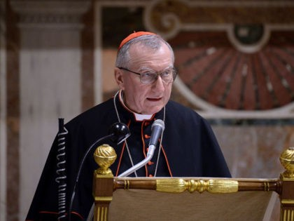 Vatican Secretary of State, Cardinal Pietro Parolin, speaks during the presentation of the book 'Ordres et decorations du Saint-Siege' in the Sala Regia of the Apostolic Palace at the Vatican on October 2019. (Photo by Filippo MONTEFORTE / AFP) (Photo by FILIPPO MONTEFORTE/AFP via Getty Images)