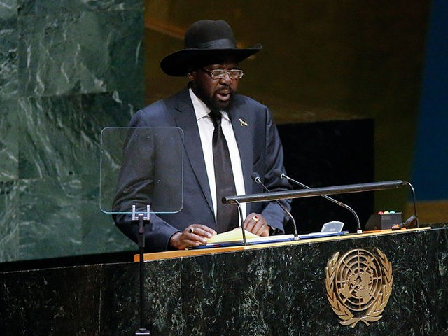 NEW YORK, NY - SEPTEMBER 27: Salva Kiir President of the Republic of South Sudan speaks at the 69th United Nations General Assembly on September 27, 2014 in New York City. The annual event brings political leaders from around the globe together to report on issues meet and look for …