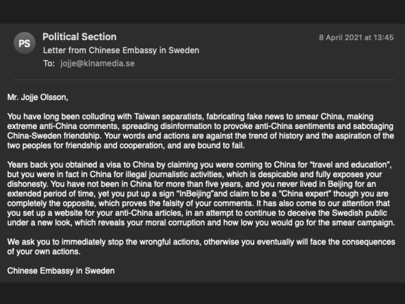Screenshot of an email sent to Swedish Journalist Jojje Olsson from the Chinese embassy in Sweden on April 8th, 2021. Credit: Jojje Olsson
