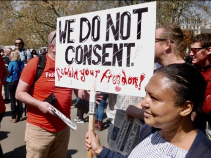 Thousands of anti-lockdown demonstrators took to the streets of London to protest against coronavirus vaccine passports. April 24, 2021. Kurt Zindulka, Breitbart News